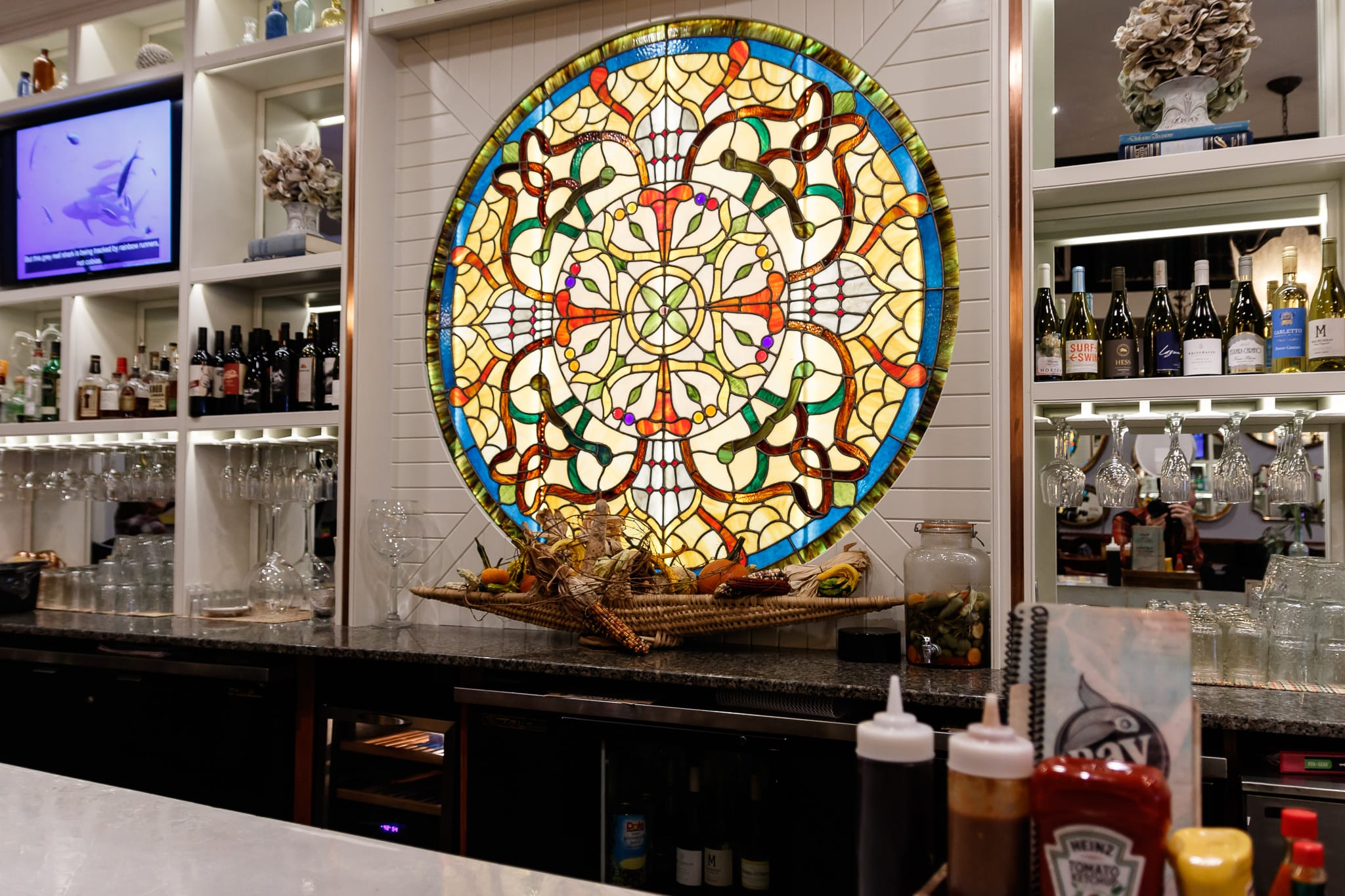 Circle stain-glass window